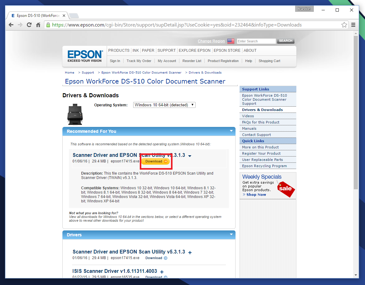 scanner driver and epson scan utility windows 10